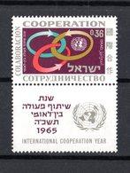 ISRAEL :  Anno Internazionale Della Cooperazione  -  1 Val. MNH**  Con Tab  Del  21.07.1965 - Nuovi (con Tab)