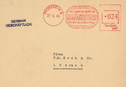 Pforzheim 1946 Bestecke Schmuck Uhren Robert Klingel Porzellan Leder Frankotyp-Stempel - Briefe U. Dokumente