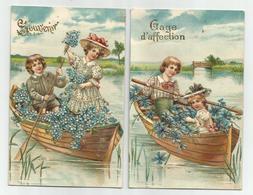 2 Cartes Gaufrées 1907 - Souvenir - Gage D' Affection - Fantaisies
