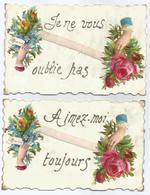 2 Cartes 1907 - Inscription Dorée - Aimez-moi / Je Ne Vous Oublie Pas - Fantaisies