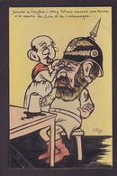 CPA Judaïca Jewish Juif Judaïsme Dreyfus Jaurés Signé G Original Fait Main Voir Scan Du Dos Satirique Antisémite - Satirical