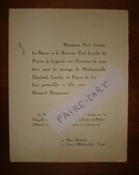 FAIRE-PART MARIAGE 1950 BOISSONNET # LONDES PAYEN De LAGARDE Gazavel 26-Saulce - Boda