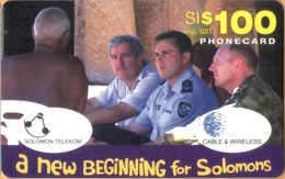 Solomon Island - SOL-REM-0008, C&W, Remote Memory, Peacekeepers And Local Man, Military Forces, 100 SI$, Used - Isole Salomon