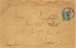 1907- Enveloppe Affr. F M N°3 Oblit. LE MANS  ( 31è D'Artillerie  ) - Postmark Collection (Covers)