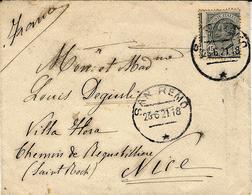 1921- Envelopp Afffr. Unificato N°116 De SAN REMO Per Nice - Perforation Très Décalée - 1900-44 Vittorio Emanuele III