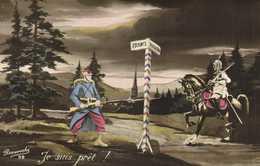 Patriotique  Je Suis Prét ! Fantassin Francais Contre Cavalier Allemand à La Frontière RV - Patriottiche