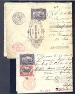 2 Oude Bankdocumenten Met Nr. 145 Gestempeld - Interi Postali
