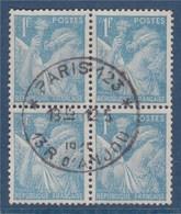= Type Iris 1f Bloc De 4 Oblitéré  N°650 - 1939-44 Iris