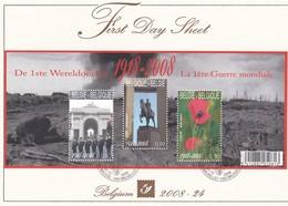 Belgique FDS 2008-24 BL 162 Première Guerre Mondiale Émission Commune Nouvelle-Zélande Ypres Nieuwpoort Coquelicots - FDC