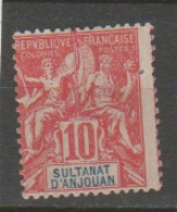 ANJOUAN          N°  YVERT  :      14    (2° Choix)     NEUF AVEC  CHARNIERES      (  CH  02/43 ) - Anjouan (1892-1912)