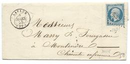 N°14 BLEU NAPOLEON SUR LETTRE / LAVAUR POUR MONTENDRE 3 MARS 1855 - Poststempel (Briefe)