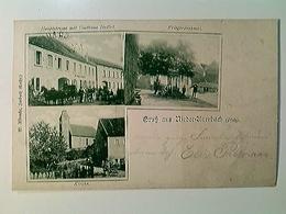 Nieder-Auerbach (Pfalz), Gasthaus Hudlet, Kirche, Kriegerdenkmal, AK, Gelaufen 1899 - Deutschland