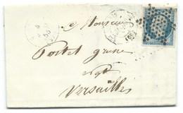 N°14 BLEU NAPOLEON SUR LETTRE / PARIS POUR VERSAILLES 6 MARS 1855 - Poststempel (Briefe)