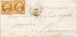 G.C.1553 L' ISLE-S-LE DOUBS,N° 13aX2,L.S.C. Du 2/4/56. - Postmark Collection (Covers)