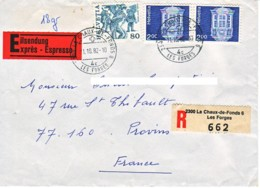 SUISSE : 1982 - Lettre, Recommandée, Par Exprès Pour La France - Schweiz