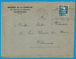 ENVELOPPE MAISON DE LA FAMILLE 26 RUE DE VIEWARDE VALENCIENNES 1951 - Publicités