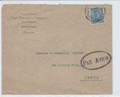 RR: Env Service Postal Aérien PARIS – BRUXELLES Janvier 1919 - Griffe Festonnée PAR AVION - 1915-1920 Albert I