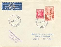 PARIS-AVIATION SCE ETRANGER TàD HOROPLAN 20-4-1948 - PAR PREMIER SERVICE PARIS - LIÈGE SABENA - BELGIQUE - Handstempel