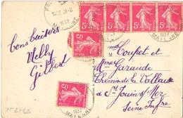 PREZ EN PAIL MAYENNE   TàD HOROPLAN 28-8-1937 Afft 6 SEMEUSES 5 C. Rose YT 278B Dont BLOC Horizontal De 4 - Marcophilie (Lettres)