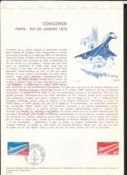 Document Off. La Poste FDC  Poste Aérienne N°49  Et  Gravure Le 10/01/1976 Concorde Premier Vol Commercial Paris Rio TB - Concorde