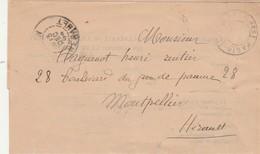 LAC SERVIAN Hérault 13/12/1894 Cachet Imprimés Paris à Montpellier - Postmark Collection (Covers)