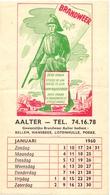 Blad Kalender Gewestelijke Brandweer - Aalter  Januari 1960 - Calendriers