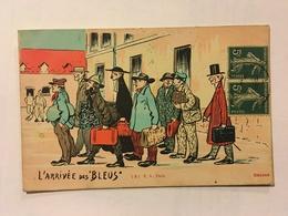 A103- CARTE MILITAIRE SUR LA CONSCRIPTION. L'ARRIVEE DES BLEUS… - War 1914-18