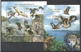 TG1019 2011 TOGO TOGOLAISE FAUNA BIRDS RAPTORS LES RAPACES AFRICAINS 1KB+1BL MNH - Águilas & Aves De Presa