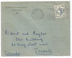 N° 734 2FR40 BLASON SEUL LETTRE POITIERS 17.V.1945 POUR LA CANADA AU TARIF RRR - Storia Postale