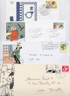 Tintin Et Milou - Lot De 4 Enveloppes Illustrées Commerciales Et Premier Jour FDC - Comics