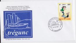 Gaston Lafaffe Trégunc Enveloppe Cachet Commémoratif 2001 - Bandes Dessinées