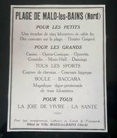 MALO LES BAINS PLAGE CASINO BACCARA BOULE COURSES CHEVAUX PLAGE OPERETTE MUSIC HALL THEATRE GUIGNOL PUB 1935 NORD 59 - Reclame
