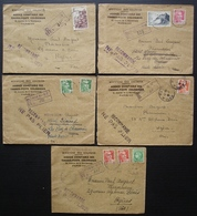 Ministère Des Colonies Agence Comptable Des Timbres Postes Coloniaux, Lot De 5 Recommandés Années 1946 Et 47 - Storia Postale