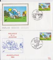Les Schtroumpfs Smurfy Lot E 2 Enveloppes Belgique Philatélie Jeunesse Jeugdfilatelie Bruxelles Kortrijk 1984 - Stripsverhalen