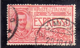 ITALIA REGNO ITALY KINGDOM 1903 ESPRESSI EFFIGIE RE VITTORIO EMANUELE ESPRESSO SPECIAL DELIVERY CENT. 25c USATO USED - 1900-44 Victor Emmanuel III.
