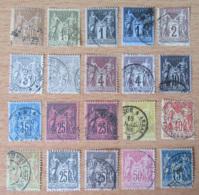France - Lot  De 20 Timbres Sage YT N°80 à 101 Oblitérés, Pour étude Des Nuances Et Variétés - 1876-1898 Sage (Type II)