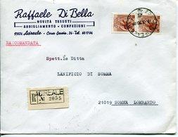 Italia (1970) - 90 Lire Siracusana In Coppia Su Raccomandata Da Acireale - 1961-70: Marcofilia
