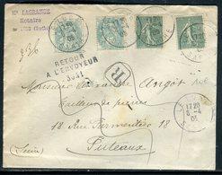 Enveloppe En Recommandé De Le Lude Pour Puteaux Et Retour En 1905  Affranchissement Semeuses / Blancs - Réf N 153 - 1877-1920: Semi Modern Period