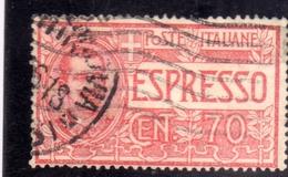 ITALIA REGNO ITALY KINGDOM 1925 1926 ESPRESSI EFFIGIE RE VITTORIO EMANUELE ESPRESSO SPECIAL DELIVERY CENT. 70 USATO USED - 1900-44 Victor Emmanuel III.