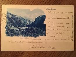 """CPA, SUISSE, Oberland """" Interlaken - Heimwehfluh"""", éd Artist. Atelier.H.Guggenheim, écrite En 1900, Timbre - BE Berne"""