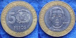 DOMINICAN REPUBLIC - 5 Pesos 2002 KM# 89 Bi-metallic - Edelweiss Coins - Dominicana