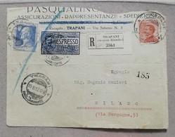 Frontespizio Di Raccomandata Espresso Trapani-Milano - 15/08/1927 - 1900-44 Victor Emmanuel III.