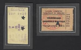 TICKET * TELEFERIQUE * GRENOBLE - BASTILLE * 1959 * ISERE * VOIR SCANS  * 4.5 X 3 CM * PAS COLLE - Eintrittskarten