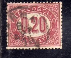 ITALIA REGNO ITALY KINGDOM 1875 SERVIZIO FRANCOBOLLO DI STATO SERVICE CENT. 20 (0,20) USATO USED OBLITERE' - Dienstpost