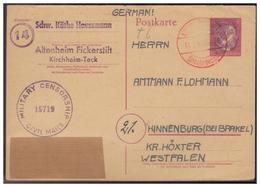 Bizone (005931) Ganzsache 3. Reich Mit Schwärzung Und Überkleben Mit Zensur Und Gebühr Bezahlt Stempel Gelaufen Am 11.3. - Bizone