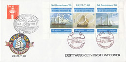 DC-2243 - 1986 NETHERLANDS FDC - STADSPOST - LOCAL MAIL - SAIL BREMERHAVEN ON TAB - BLOCK LARGE COVER - FDC