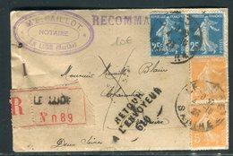 Enveloppe En Recommandé De Le Lude Pour Bressuire Et Retour, Affranchissement Semeuses - Réf N 168 - Marcofilie (Brieven)