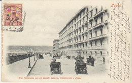 """1903 Napoli   Via Partenope """" Hôtels Vesuvio , Continental E Royal """" (vers Camp De Servieres Tunisie ) - Napoli (Napels)"""