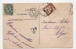 - Carte Postale BONE (Algérie) Pour ALGER 8.6.1907 - TAXÉE 10 C. Brun Type Duval - A ETUDIER - - Segnatasse