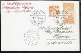 """Danemark - 1940 - Affranchissement P. A + Poste à 16 Ore Sur CPA """" Kobenhavn - Fra Tivoli"""" Pour Ronne - TB - - 1913-47 (Christian X)"""